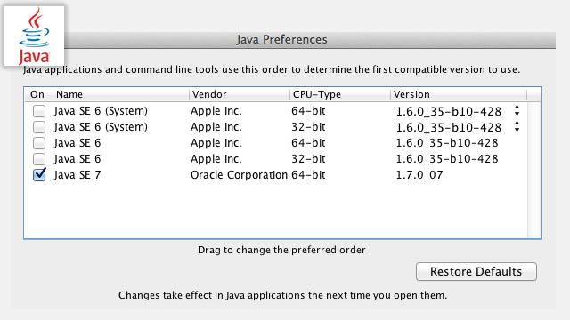 Mac OS X の Java veesion を Java Preferences 無しで切り替える